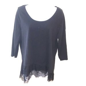 Lane Bryant black 3/4 sleeve top with lace